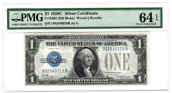 1928c 1 Silver Certificate Fr. 1603 Pmg Choice Unc. 64 Y00006328