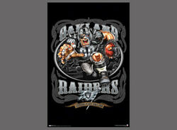 Oakland Raiders Grinding It Out Since 1960 Nfl Football Theme Art Poster