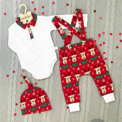 Infant Baby Boy Girl Kid Christmas Outfits Romper Tops Pants Hat Cotton Clothes