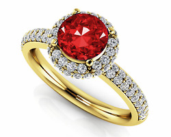 1.61ctw Halo Style Ruby And Diamond Designer Ring-14k Gold