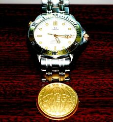 Omega Seamaster Quartz - White Face+gold Bezel Screws Hands And Face Accents