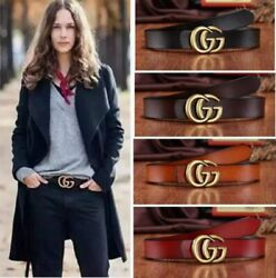 Fashion Women Gold Buckle Genuine Leather G-Style Belt Pattern For Jeans gift