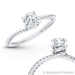 Forever One Def Round Moissanite 4pr Solitaire Engagement Ring In 14k White Gold