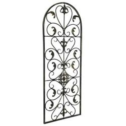 Arched Wrought Iron Wall Art Sculpture Vintage Tuscan Indoor Outdoor Gate Decor