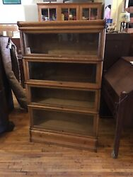 Antique Oak 4 High Stack Barrister Bookcase Arts And Crafts Macey/globe Wernicke