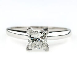 1.00ct Princess Cut Diamond Solitaire Engagement Ring Size 6.5 In 14k White Gold