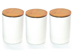 Set Of 3 White Porcelain Storage Canister With Bamboo Lid And Airtight Seal
