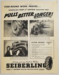 1949 Print Ad Seiberling Plow Contour Tractor Tires Tractor In Field Akronohio