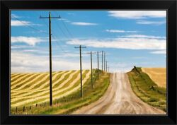 Gravel Road With Wooden Electrical Poles Black Framed Wall Art Print,