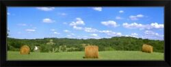 Dried Round Grass Hay Bales In The Field Black Framed Wall Art Print