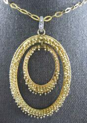 Estate Large .08ct Diamond 14kt Yellow Gold 3d Double Oval Spiky Fun Pendant