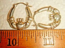 VTG 925 STERLING SILVER PUFFY HOOP IRISH LOVE DANGLE DROP IRELAND EARRING LOT 7