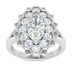 1.5 Ct H Si Marquise Round Natural Diamond Halo Ring 18k White Gold Made In Usa