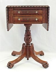 Vintage Federal Style 2-drawer Drop Leaf Table With Carved Pedestal And Paw Feet