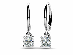 1.00ctw Round Solitaire Diamond Drop Earrings-14k Gold