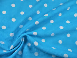 Bullet Printed Liverpool Textured Fabric Stretch Blue Ivory Polka Dot P51