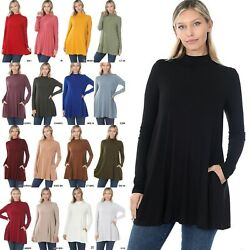 1x-2x-3x Plus Size Mock Neck Relaxed Fit Long Sleeve Top Side Pockets Rt-1641xp