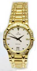 Concord Saratoga Mens 18k Yellow Gold Diamond Quartz Watch 51/ 50 58  239