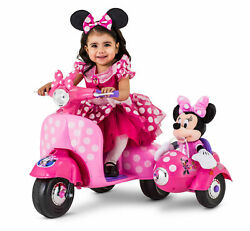 Disney Minnie Mouse Happy Helper Car Motorcycle Scooter With Sidecar Ride-on Toy