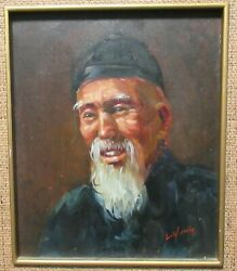 L.yung Chinese Man With White Beard Original Oil On Canvas Painting Hong Kong