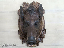 Black Forest Carved Wood Wildboar Head Carving Germany