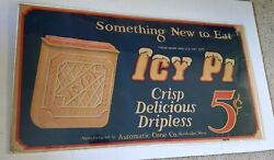 Vintage Collectible 1920s Dairy Advertising Icy Pi Ice Cream Sign 22 X 40