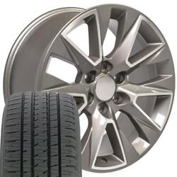 5919 Silver 20x9 Wheels And Bridgestone Tires Set Fits Gmc And Chevy