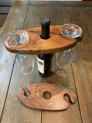 Texas Mesquite Wood With Turquoise Inlay 2 Wine Glass Holder And Display
