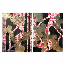 Modern Geometrical Abstract Gold Leaf Gilt Diptych By Mak, 2019 Large Format