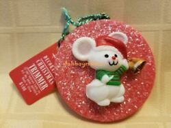 Hallmark 1987 Glitter Disc Tree Trimmer Christmas Ornament Mouse with Bell Rare