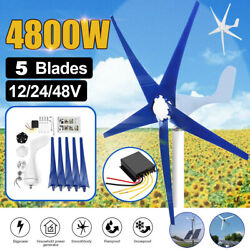 5 Blades 4800W Max Power Wind Turbines Generator 12 24 48V Charge Controller TOP $161.99