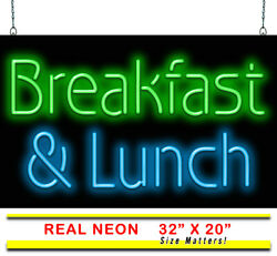 Breakfast And Lunch Neon Sign   Jantec   32 X 20   Diner Coffee Diner Brunch Bar