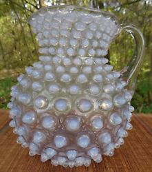 Antique Opalescent Hobnail Glass Pitcher Applied Handle Square Top Glows Uv