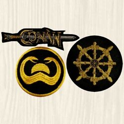 Conan Patches Wheel Of Pain The Barbarian Sword Logo Film Snakes Embroidered