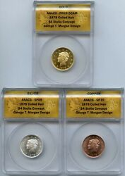 1878 Coiled Hair 4 Stella Concept Gold Silver 3-medal Anacs 69 70 Set - Jd431