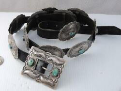 Lg Antique American Navajo Indian Turquoise Sterling Concho Belt 12 Conchos 39and039and039