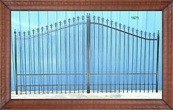 Wrought Iron Style Steel / Iron Driveway Gate 14' Wide Yard Home Safe Security