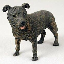 Staffordshire Bull Terrier Brindle Original Dog Figurine (4in5in) by Conversa