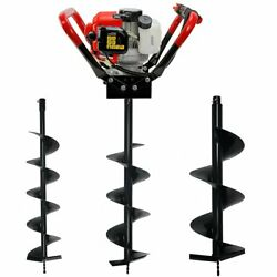 V-type 55cc 2-stroke Gas Post Hole Digger With 3 Drill Bit 6 8 10 Bits