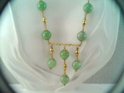 Rare Antique Chinese 14k Solid Gold Green Jade Bead Necklace Stunning Lg W Drops