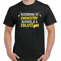 Alcohol T-shirt Mens Funny Slogan Beer Humour Larger Party Bbq Top Is A Solution