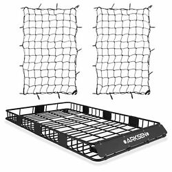 84 Universal Roof Rack Cargo Extension W/2 Nets Car Top Luggage Carrier Basket