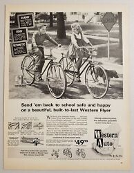 1963 Print Ad Western Flyer Bicycles Boy And Girl Ride Bikes Western Auto Stores