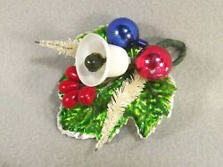 Christmas Corsage Vintage White Bottle Brush Trees Green Leaf Bell Red Berries