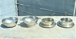 Vtg 4 Silver Plated Bowls Walker And Hall Ellerman Lines And Gense Extra Sal 1950's