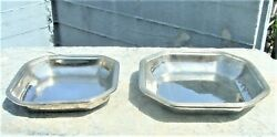 Vtg Silver Plated Octagonal Pair Of Platters Gense Extra Swedish American Line