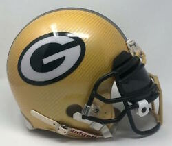 Green Bay Packers Authentic Vsr4 Riddell Yellow Hydro Dipped Full Size Helmet