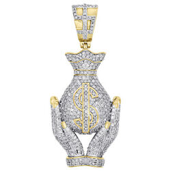 10K Yellow Gold Diamond Hands Holding Money Bag Pendant Designer Charm 2 CT.