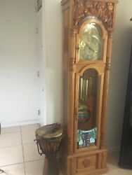 grandfather Clock. Kente Print Inlay, Ivory Coast Carving And Stained Glass.