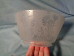Etched Frosted Cut Antique Gas Lamp Light Shade Fisherman Fishing In Boat